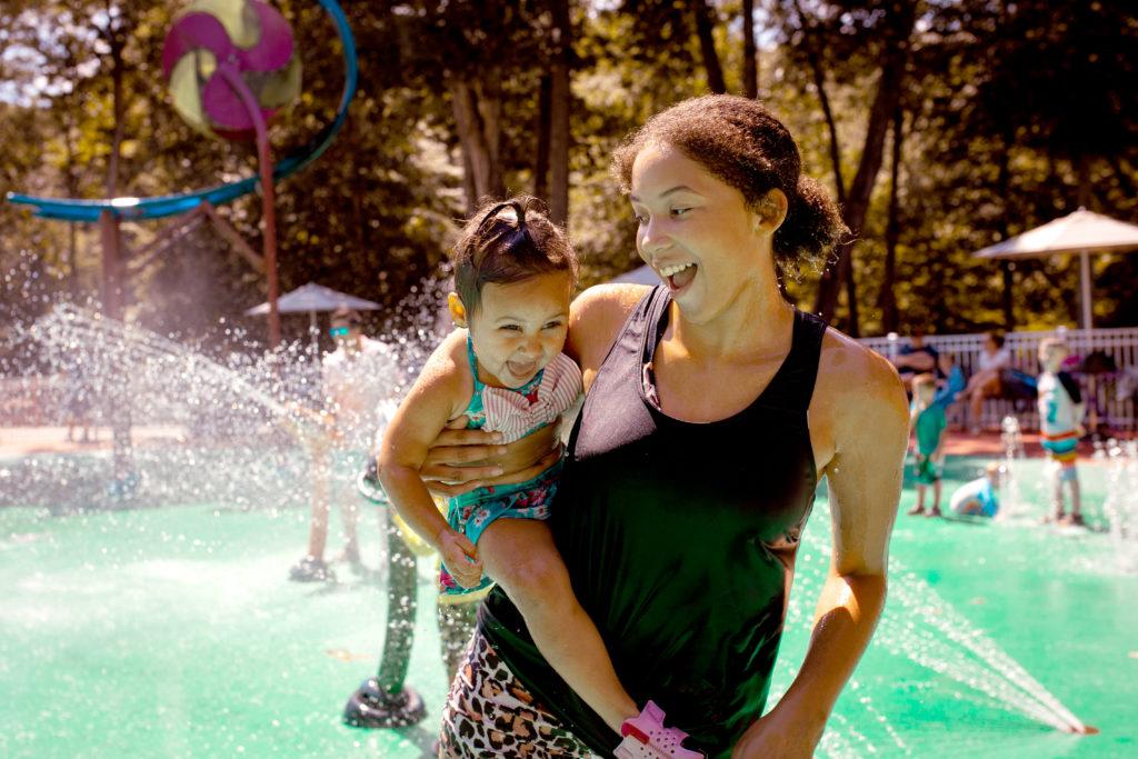 mom daughter water fun